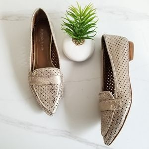 Donald J. Pliner Ava Gold Perforated Flats Loafers